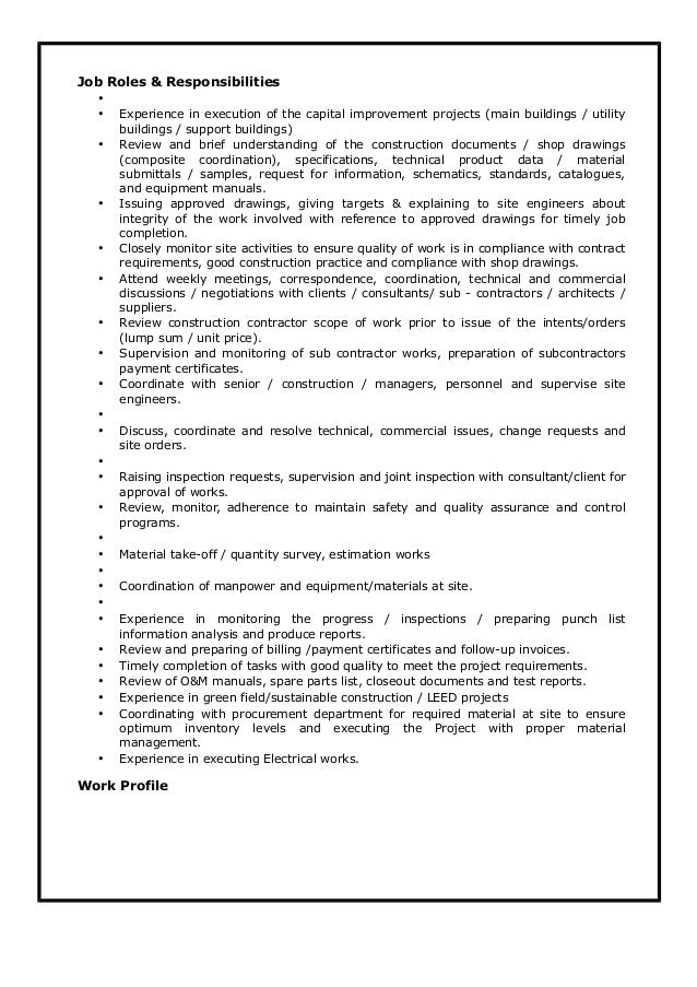 electrical site engineer responsibilities pdf