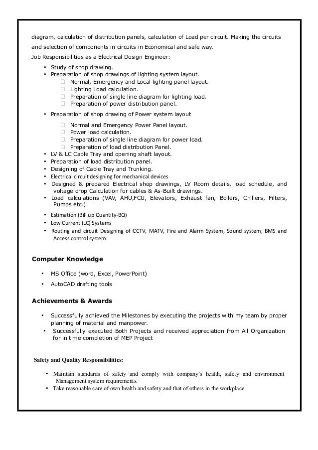 electrical engineer resume, Wiring electric