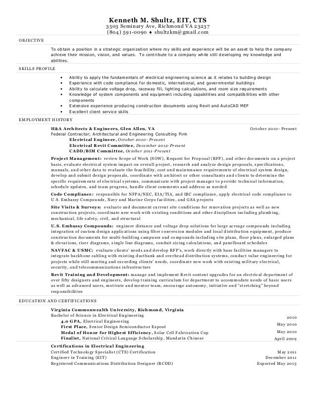 Electrical Engineer Resume Kenneth Shultz. Kenneth M. Shultz, EIT, CTS3503  Seminary Ave, Richmond VA 23237(804  Resume For Electrical Engineer