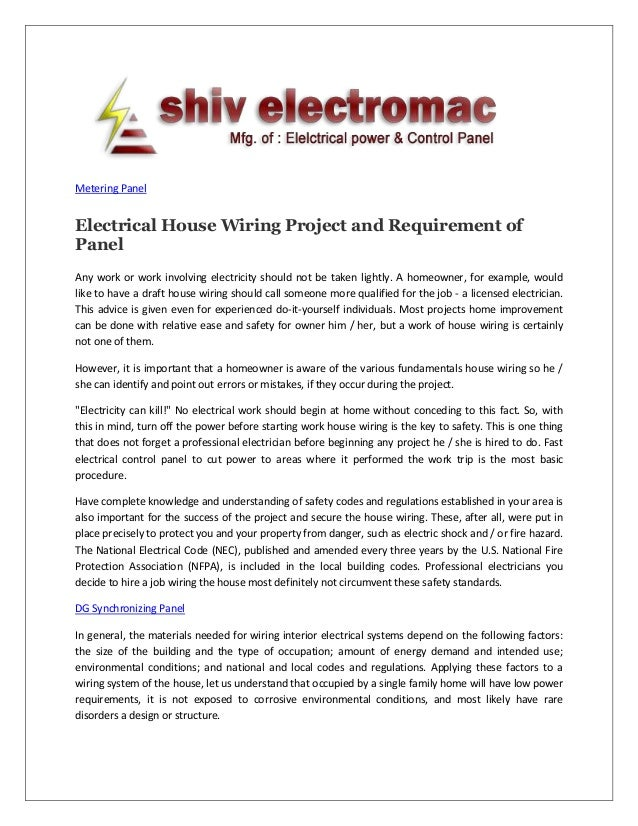 Electrical house wiring project and requirement of panel metering panel electrical house wiring project and requirement of panel any work or work involving electricity solutioingenieria
