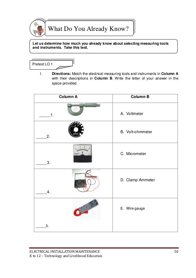 k to 12 electrical learning module, wiring, electrical wiring materials list pdf