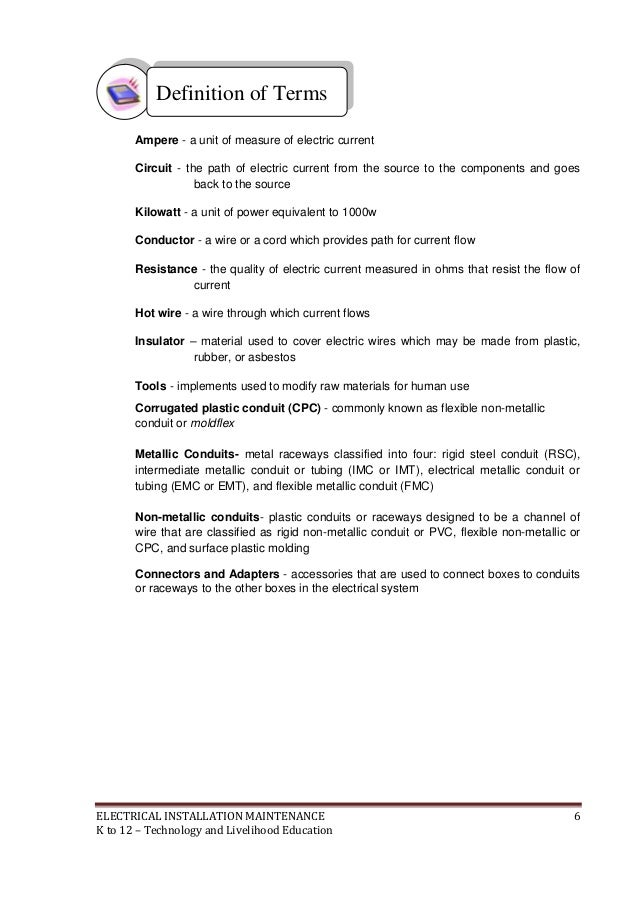 Worksheet Guide For Wires Cables & Wifi Answers | K To 12 Electrical Learning Module