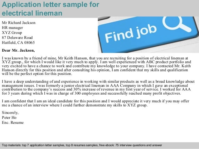 electrical lineman application letter lineman resume