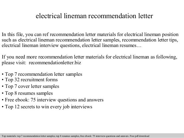 Electrical lineman recommendation letter
