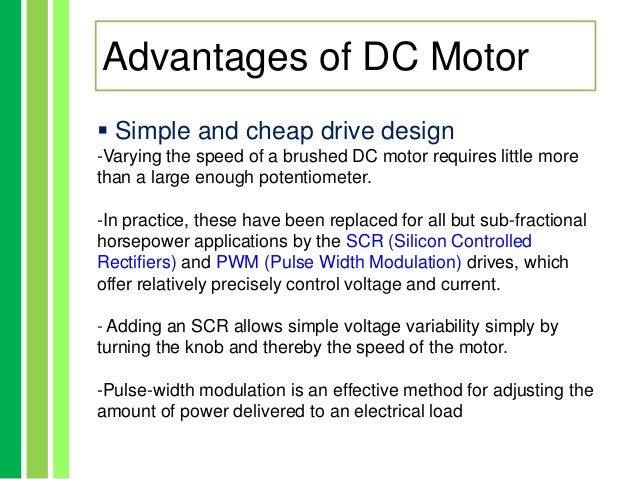 Advantages and disadvatages of ac dc motor for Ac and dc motor