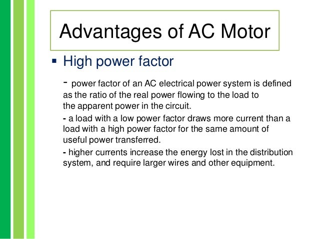 Advantages and disadvantages of electric motors for Advantages of ac motor