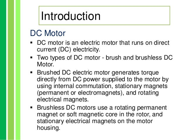 Difference between ac and dc motor ppt for Ac and dc motor