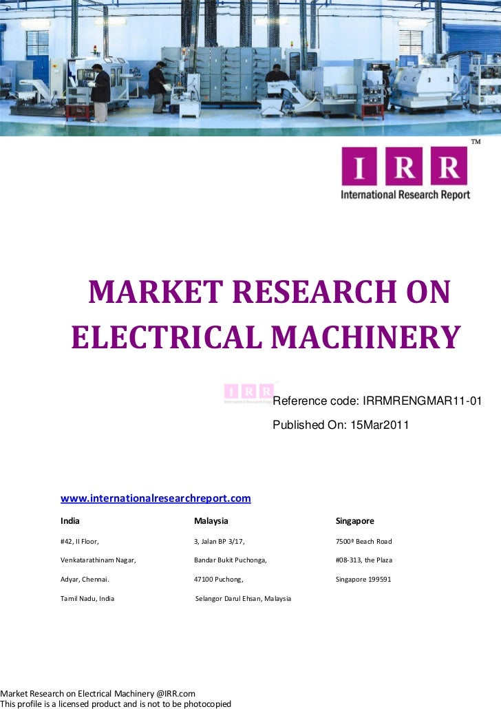 MARKET RESEARCH ON                   ELECTRICAL MACHINERY                                                                 ...