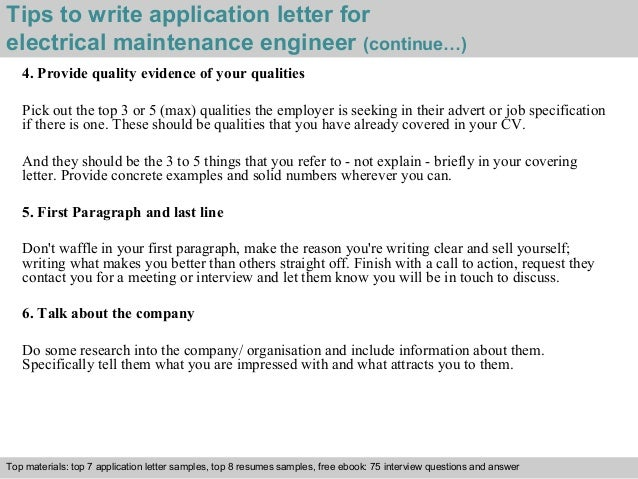 ... 4. Tips To Write Application Letter For Electrical Maintenance Engineer  ...