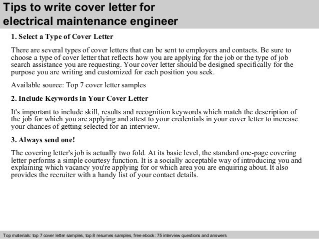 Electrical maintenance engineer cover letter