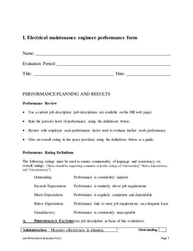 Electrical maintenance engineer perfomance appraisal 2 – Maintenance Engineer Job Description