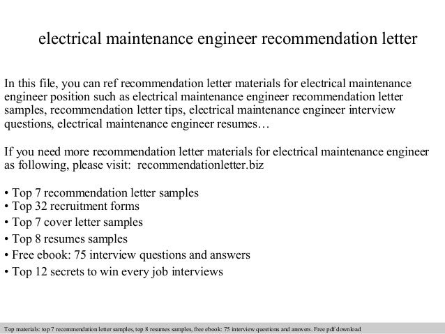 electrical maintenance engineer recommendation letter in this file you can ref recommendation letter materials for recommendation letter sample - Hotel Maintenance Engineer Sample Resume