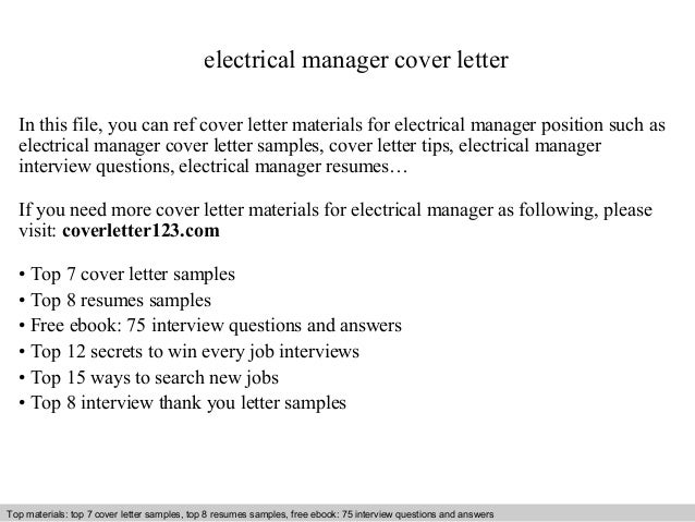 Electrical Manager Cover Letter In This File, You Can Ref Cover Letter  Materials For Electrical ...