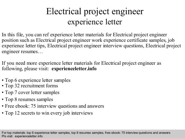 Electrical project engineer experience letter for Cover letter for experienced electrical engineer