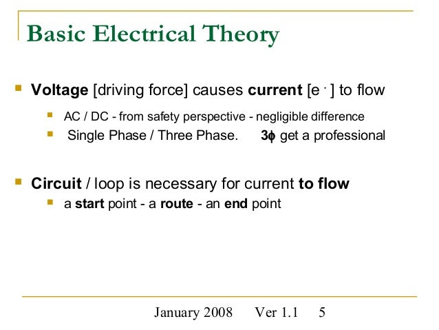 electrical safety Low Voltage Wiring Basics electricity 5 january 2008 ver 1 1 5 basic electrical theory