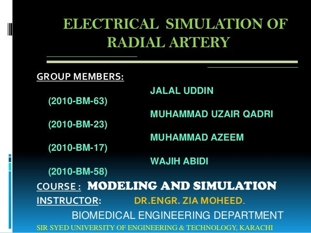 Electrical simulation of radial artery using comsol     presentation