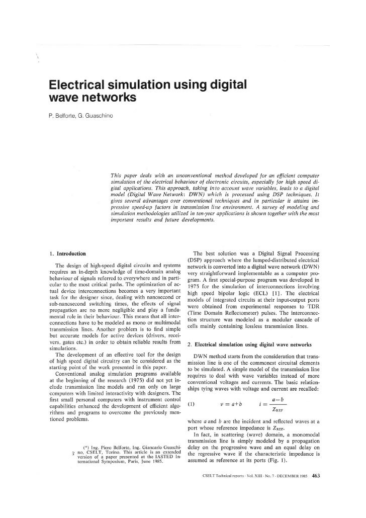 Electrical Simulation Using Digital Wave Networks( Iasted International Symposium Paris June1985)