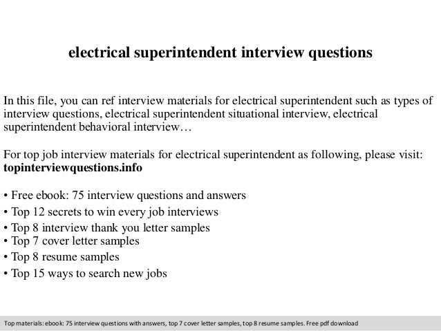 Electrical superintendent interview questions