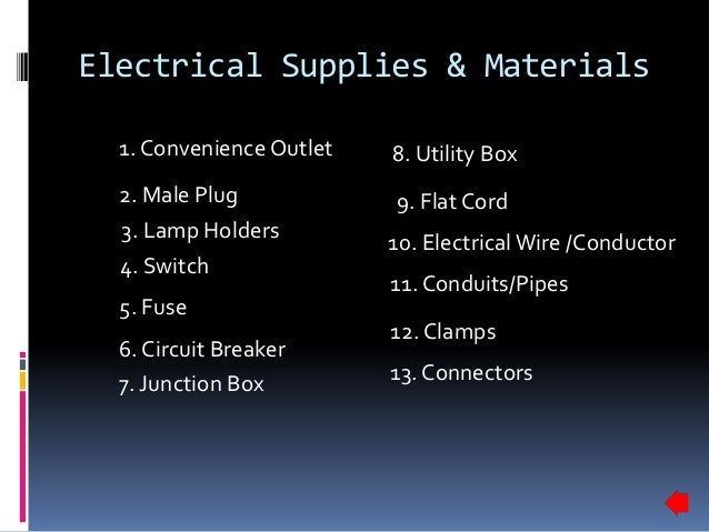 electrical supplies materials rh slideshare net Electrical Wiring Tools and Materials House Wiring Supplies