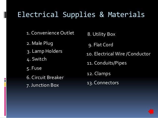 electrical supplies materials 3 638 jpg cb 1441060802 rh slideshare net Electrical Materials Catalog Electrical Fuse