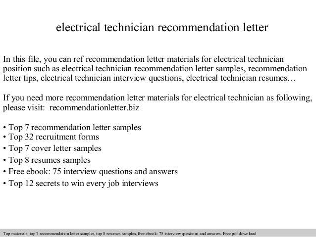 Electrical Technician Recommendation Letter