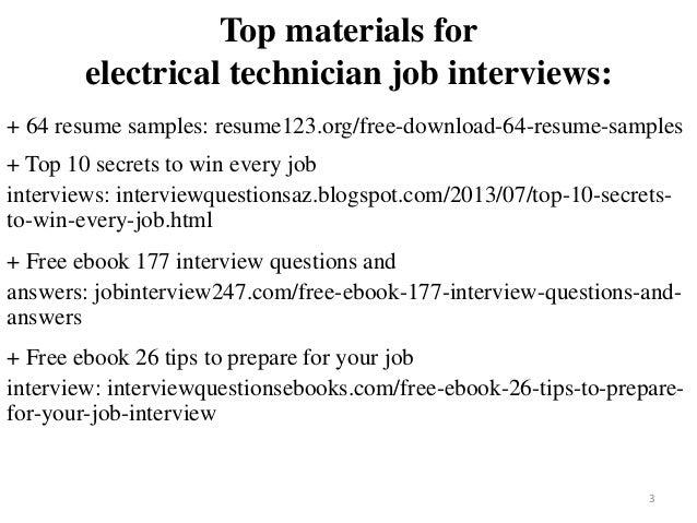 Electrical Technician Resume Sample Pdf Ebook