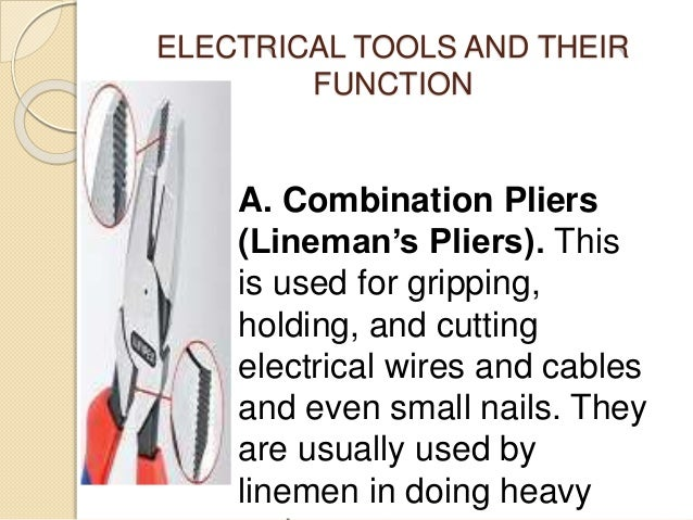 electrical tools and its function rh slideshare net Wire Removal Tool Crimper Tool