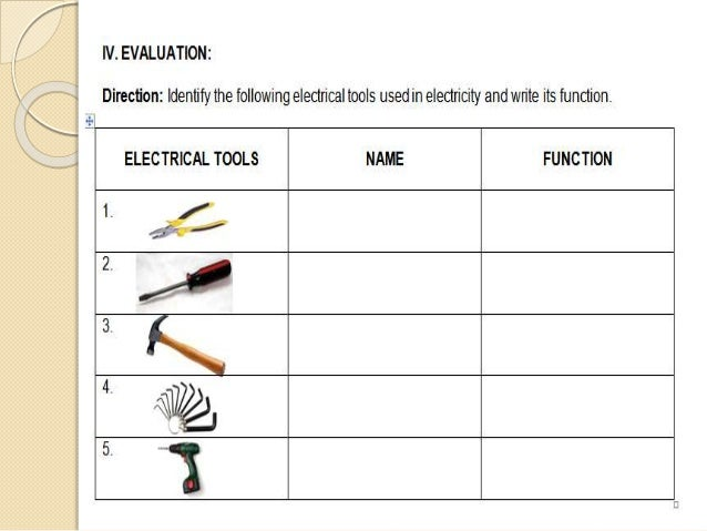 electrical tools and its function rh slideshare net Residential Electrical Wiring Diagrams Electrician Compotition Cde Diagram
