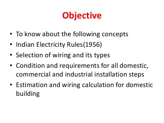 electrical wiring and estimation