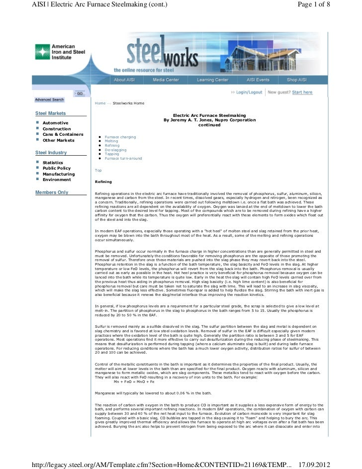 AISI | Electric Arc Furnace Steelmaking (cont.)                                                                           ...