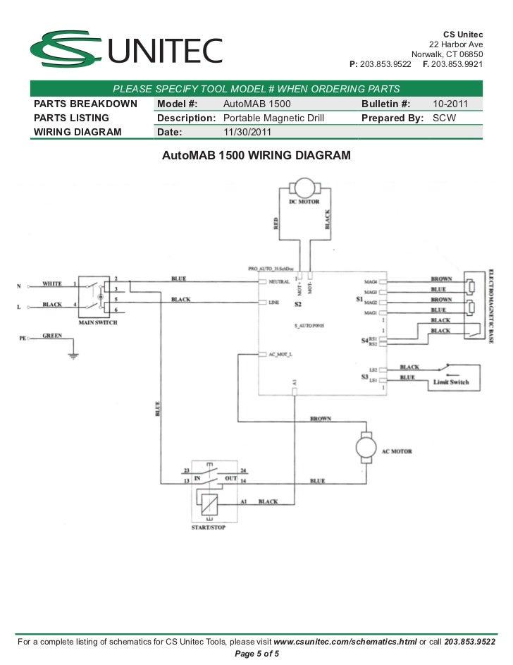 Cs Unitec Electric Magnetic Drills Schematic  Automab 1500