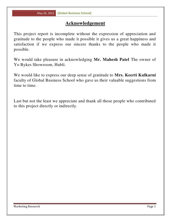 May 26, 2012   [Global Business School]                                    AcknowledgementThis project report is incomplet...
