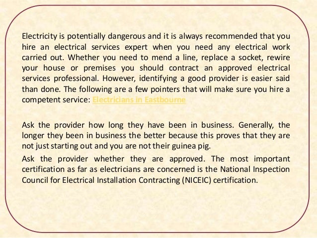 Electricians In Eastbourne