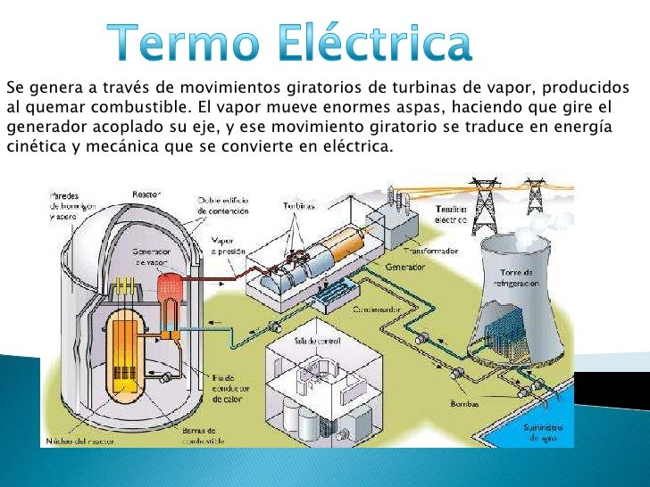 Termo Eléctrica<br />Se genera a través de movimientos giratorios de turbinas de vapor, producidos al quemar combustible. ...