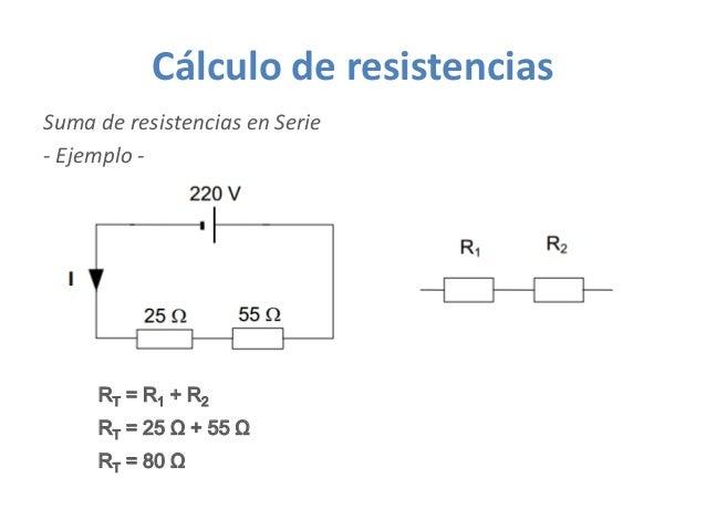 Cálculo de resistencias Suma de resistencias en Serie - Ejemplo - RT = 25 Ω + 55 Ω RT = R1 + R2 RT = 80 Ω