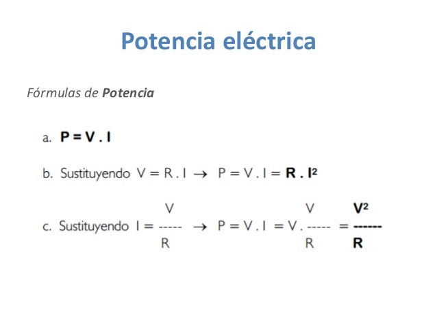 Potencia eléctrica Fórmulas de Potencia
