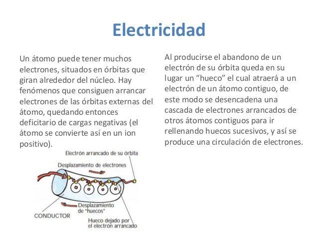 Electricidad Un átomo puede tener muchos electrones, situados en órbitas que giran alrededor del núcleo. Hay fenómenos que...