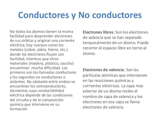 Conductores y No conductores No todos los átomos tienen la misma facilidad para desprender electrones de sus órbitas y ori...
