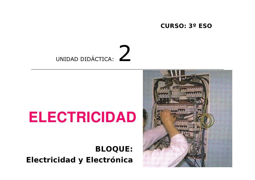 CURSO: 3º ESO       UNIDAD DIDÁCTICA:   2ELECTRICIDAD                 BLOQUE:Electricidad y Electrónica