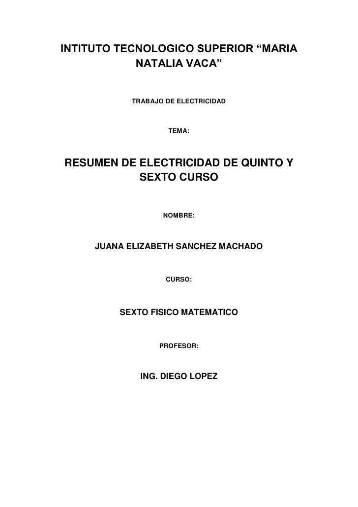 """INTITUTO TECNOLOGICO SUPERIOR """"MARIA            NATALIA VACA""""           TRABAJO DE ELECTRICIDAD                   TEMA:RES..."""