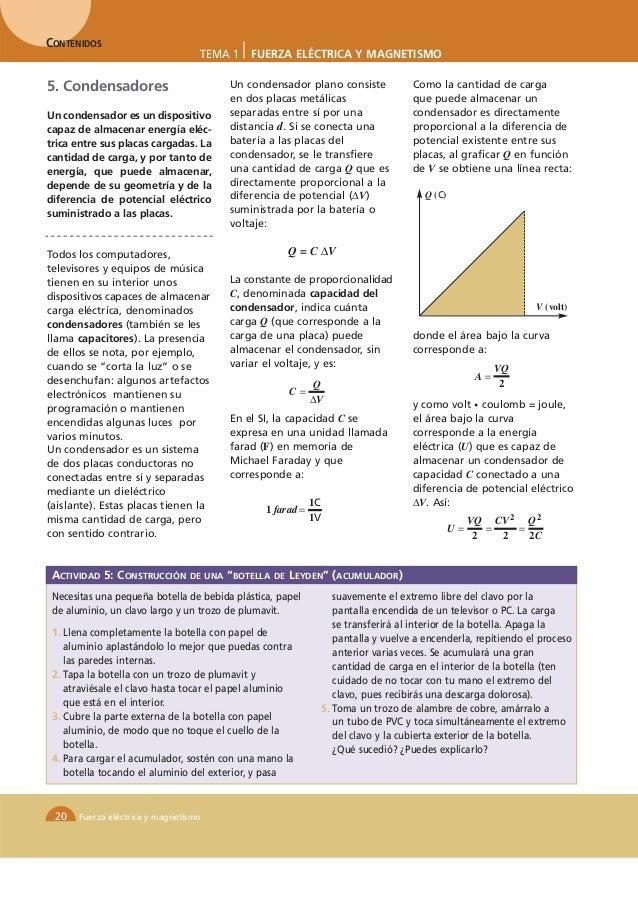 CONTENIDOS                                  TEMA 1     FUERZA ELÉCTRICA Y MAGNETISMO5. Condensadores                      ...