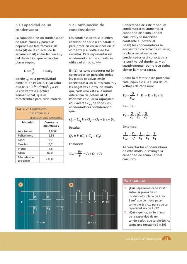 5.1 Capacidad de un                              5.2 Combinación de                 Conectando de este modo loscondensador...