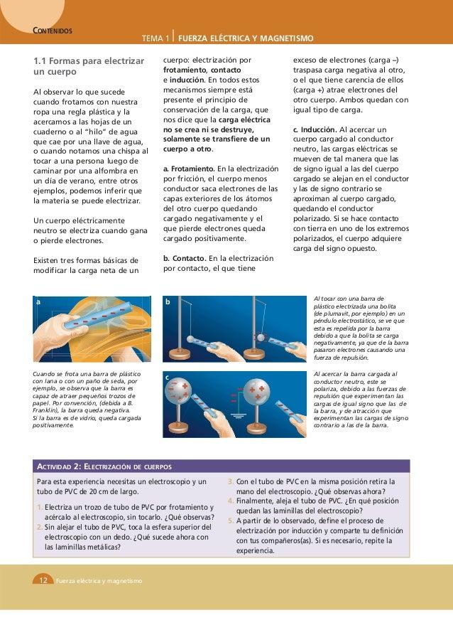 CONTENIDOS                                          TEMA 1   FUERZA ELÉCTRICA Y MAGNETISMO1.1 Formas para electrizar      ...