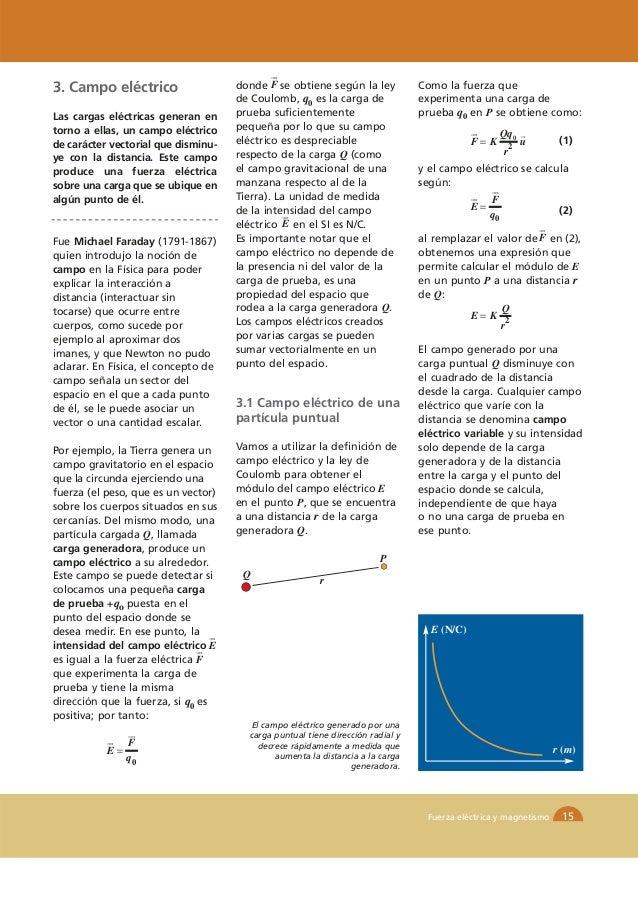 3. Campo eléctrico                   donde F se obtiene según la ley            Como la fuerza que                        ...