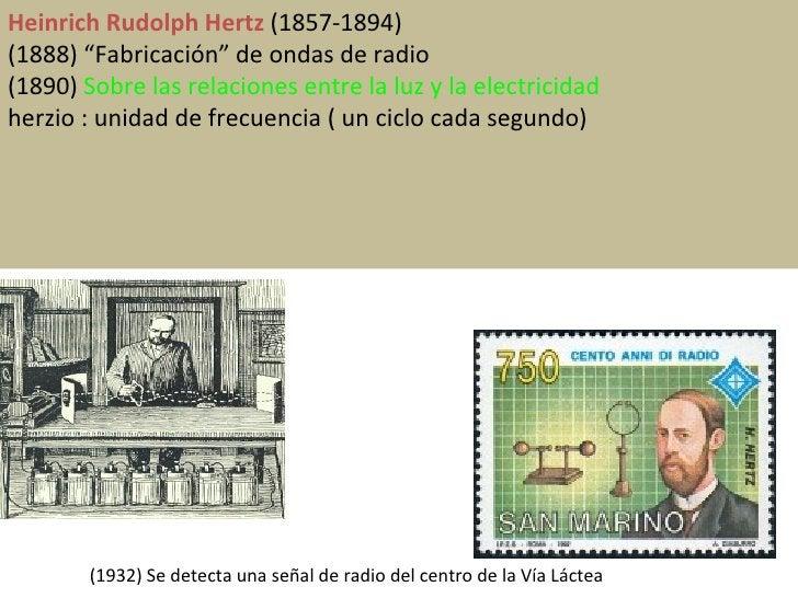 """Heinrich Rudolph Hertz  (1857-1894) (1888) """"Fabricación"""" de ondas de radio (1890)  Sobre las relaciones entre la luz y la ..."""