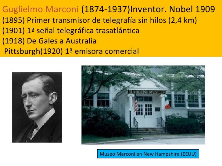 Guglielmo Marconi   (1874-1937)Inventor. Nobel 1909 (1895) Primer transmisor de telegrafía sin hilos (2,4 km) (1901)   1ª ...