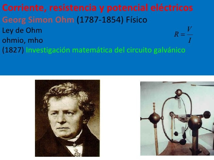 Corriente, resistencia y potencial eléctricos Georg Simon Ohm  (1787-1854) Físico Ley de Ohm  ohmio, mho (1827)  Investiga...