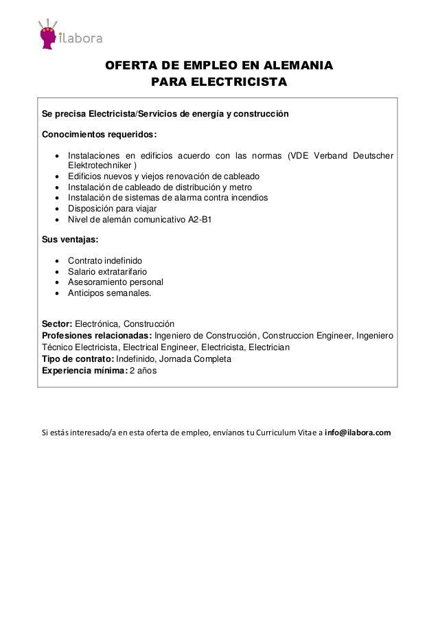Oferta de empleo en alemania para electricista for Trabajo de electricista en malaga