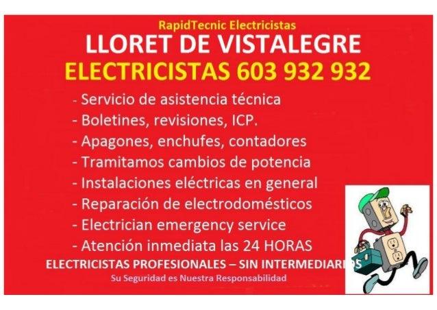 LLORET DE VISTALEGRE  - Servicio de asistencia técnica  - Boletines,  revisiones,  ICP.   - Apagones,  enchufes,  contador...