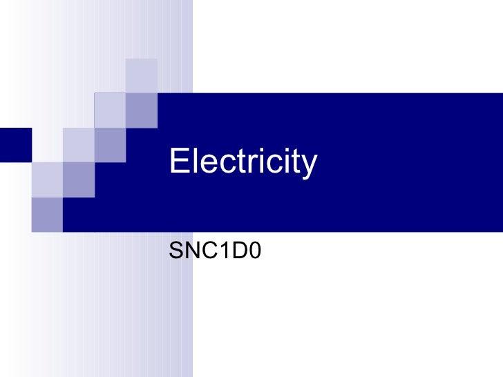 Electricity SNC1D0